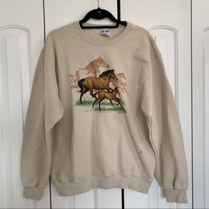 Vintage | Horses Graphic Beige Pullover Sweater M